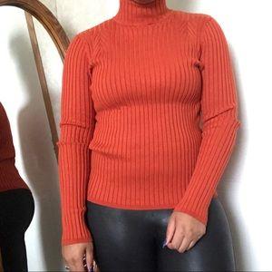 Sweaters - Orange Turtleneck